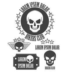 Set of vintage skull labels badges and design vector
