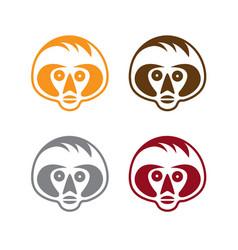 Set simple monkey faces vector