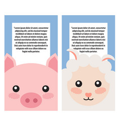 sheep and pig heads on book covers posters design vector image