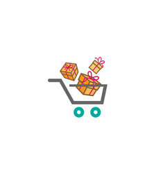 shopping cart and gift packs surprise logo vector image