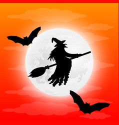 silhouette of a terrible witch on a broomstick vector image