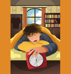 sleeping man turning off alarm vector image