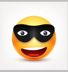 Smileysmiling emoticon with mask yellow face vector