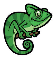 Smiling happy chameleon vector