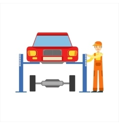 Smiling Mechanic Repairing The Suspension In The vector image