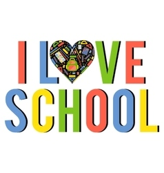 Stylezed heart with school stationery items vector