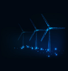 Three wind mills made of glowing triangles lines vector