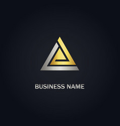 triangle gold company logo vector image