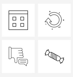 Ui set 4 basic line icons browser state vector