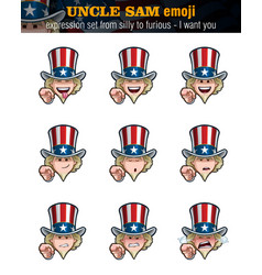 Uncle sam emoji - expression set from silly to vector