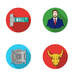Wall street a businessman a bank vault a gold vector