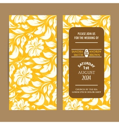Wedding invitation card floral yellow vector