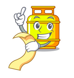 With menu creative in gas cartoon tank container vector