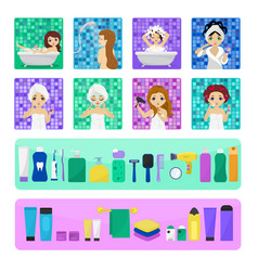 woman bathing in bathroom beautiful girl vector image