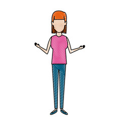 woman standing people avatar female image vector image