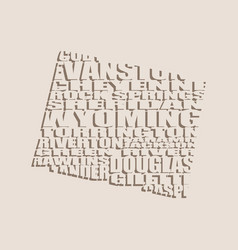 word cloud map of wyoming state vector image
