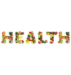 Word health composed different fruits vector