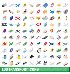 100 transport icons set isometric 3d style vector image