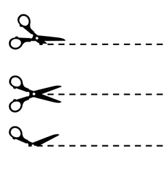 Scissors with cut lines isolated vector image vector image