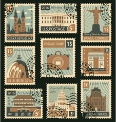 stamps with different landmarks vector image vector image