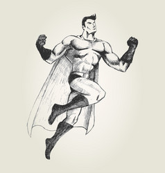 superhero in flying pose vector image
