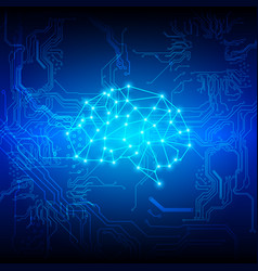 abstract brain with circuit technology background vector image vector image