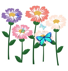 Blooming flower with butterflies vector image vector image