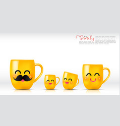 Ceramic yellow mug cartoon happy and smile father vector
