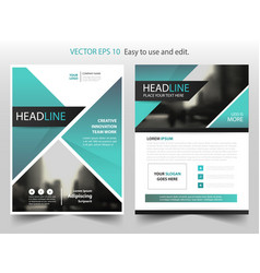 green triangle annual report brochure design vector image vector image