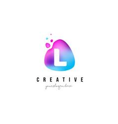 l letter dots logo design with oval shape vector image vector image