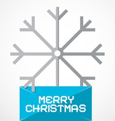 Merry Christmas Paper Title with Snow Flake vector image vector image