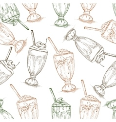 Seamless pattern scetch of three types milkshake vector image