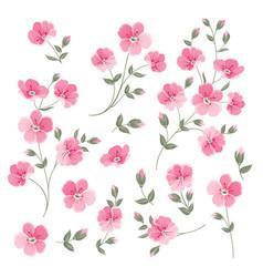 set of linen flowers elements vector image vector image