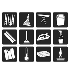 Black Home objects and tools icons vector image vector image