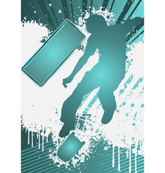 grunge poster template with skateboarder vector image vector image
