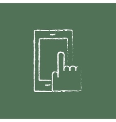 Mobile phone icon drawn in chalk vector image