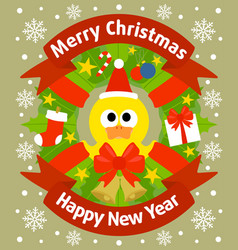christmas and new year background card with duckli vector image vector image