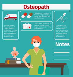female osteopath and medical equipment icons vector image vector image