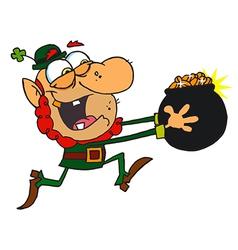 Leprechaun Running With A Pot Of Golden Coins vector image vector image