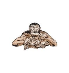 Neanderthal Man Eating Paleo Diet Etching vector image