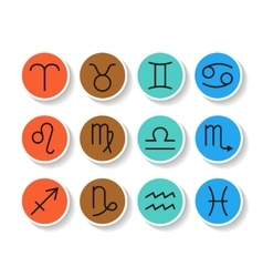 Signs of zodiac flat colored icons for horoscope vector image vector image