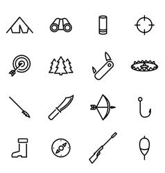 thin line icons - hunting vector image