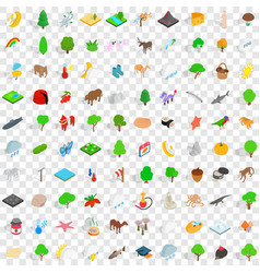 100 pets icons set isometric 3d style vector