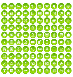 100 smartphone icons set green circle vector