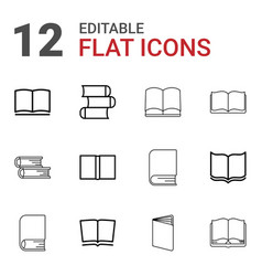 12 dictionary icons vector image