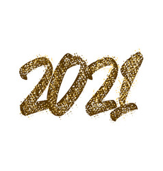 2021 happy new year lettering text golden with vector image