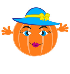 a feminine pumpkin in a blue hat vector image