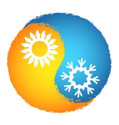 air conditioner sun orange and snowflake blue vector image