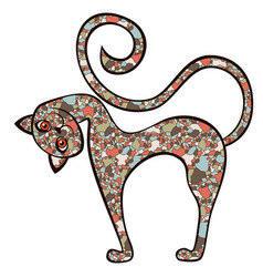 Amusing and curious cat from a mosaic vector