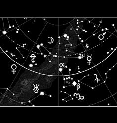 Astronomical celestial atlas fragment vector